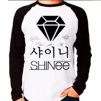 Camiseta Blusa Raglan Manga Longa Kpop Shinee Autógrafos - Eanime