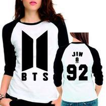 Camiseta Bts Bangtan Boys Novo Logo Jin 92 Babylook 3/4 - Eanime