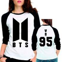 Camiseta Bts Bangtan Boys Novo Logo V 95 Babylook 3/4 - Eanime