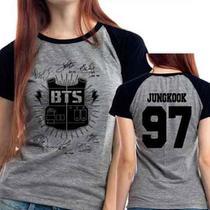 Camiseta Bts Jungkook 97 Autografos Kpop Babylook Mescla - Eanime