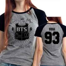 Camiseta Bts Suga 93 Autografos Kpop Babylook Mescla - Eanime