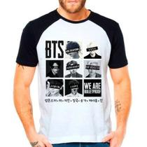 Camiseta BTS We Are Bulletproof Kpop Raglan Manga Curta - Eanime