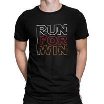 Camiseta Camisa Corra para ganhar Corrida Masculino Preto - Mikonos