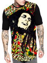 Camiseta Camisa Longline Estampa Full Bob Marley - Bugado
