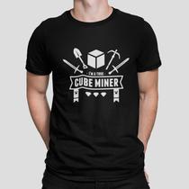 Camiseta Camisa Minecraft Cube Miner Masculino Preto - Mikonos