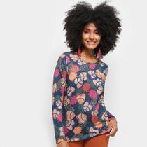 Camiseta Cantão Manga Longa Estampa Floral Feminina -