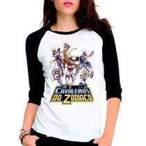 Camiseta Cavaleiros Zodiaco Saint Seiya Raglan Babylook 3/4 - Eanime