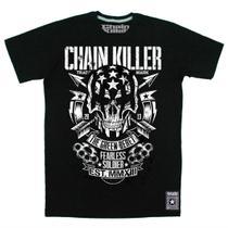 Camiseta CHAIN KILLER Fearless Soldier - MMA Rock Militar Caveira Academia Muay Thai Jiu Jitsu Moto Retro Musculação Lutas Boxe Treino ORIGINAL -