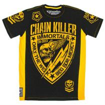 Camiseta CHAIN KILLER Immortals - MMA Rock Caveira Academia Muay Thai Jiu Jitsu Moto Retro Musculação Lutas Boxe Treino ORIGINAL -