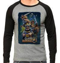 Camiseta Clash Royale Jogo Gamer Mobile Raglan Mescla Longa - EANIME