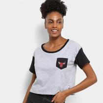 Camiseta Cropped NBA Logo Chicago Bulls Feminina -