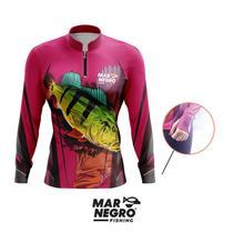 Camiseta de Pesca Feminina Proteção Solar 50+ UV Mar Negro - Tucunaré Rosa -