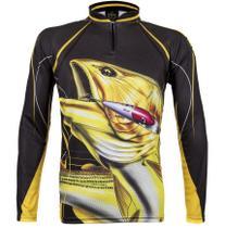 Camiseta De Pesca King Proteção Solar Uv Atack 02 - Dourado - King brasil