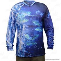 bd0baaf6a Camiseta de Pesca Mtk Attack com Proteção Solar Filtro UV Cor Azul Tucunaré