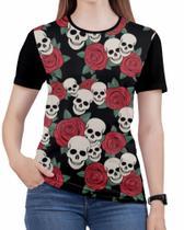 Camiseta de Rock n roll Caveira moto Feminina Roupas blusa 4 - Alemark