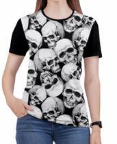 Camiseta de Rock n roll Caveira moto Feminina Roupas blusa 7 - Alemark