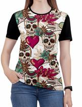 Camiseta de Rock n roll Caveira moto Feminina Roupas blusa 8 - Alemark