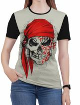Camiseta de Rock n roll Caveira moto Feminina Roupas blusa - Alemark