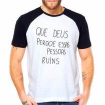 Camiseta Deus Perdoe Raglan Manga Curta - Eanime