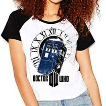 Camiseta Doctor Who Police Box Série Raglan Babylook - Eanime