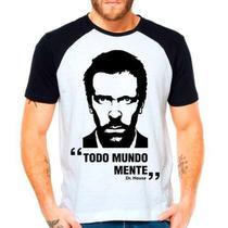 Camiseta Dr House Todo Mundo Mente Série Raglan Manga Curta - Eanime