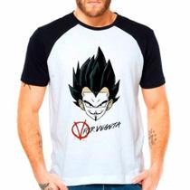 Camiseta Dragon Ball Z V For Vegeta Raglan Manga Curta - Eanime