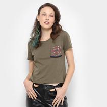 Camiseta Drezzup Bolso Estampado Feminina -