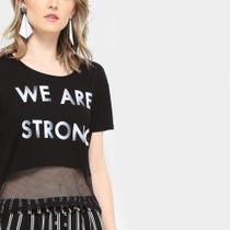 Camiseta Drezzup Estampada Com Tela Feminina -