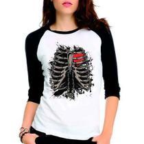 Camiseta Esqueleto Interno Coração Nerd Ralgan Babylook 3/4 - Eanime