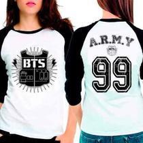 Camiseta Feminina Bangtan Boys Bts Army Raglan Babylook 3/4 - Eanime