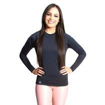 Camiseta Feminina Proteção UV Manga Longa Lisa Casual - Luasal