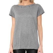 aef6ddb57c Camiseta Fitness Estampada Feminina Mescla Grafite Colcci