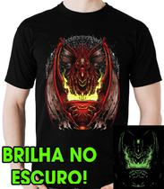 Camiseta Geek Dragão Calice de fogo Brilha no Escuro - Dragon Store