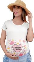 Camiseta Gestante Gravida Divertida Menina Chegando Bebe Branca - Del France
