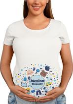Camiseta Gestante Gravida Divertida Menino Chegando Bebe Branca - Del France