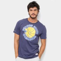 6d53e406fbe63 Camiseta Golden State Warriors Mitchell Ness Big Logo Masculina