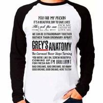 Camiseta Greys Anatomy Frases Raglan Manga Longa - Eanime