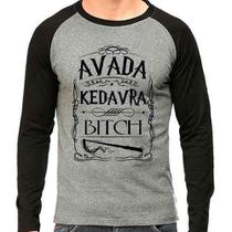 Camiseta Harry Potter Avada Kedrava Bitch Raglan Mescla - Eanime