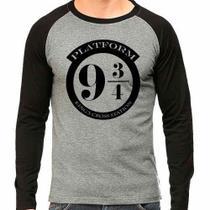 Camiseta Harry Potter Plataforma 9 3-4 Raglan Mescla - Eanime