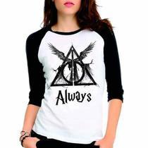 Camiseta Harry Potter Reliquias Da Morte Raglan Babylook 3/4 - Eanime