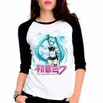 Camiseta Hatsune Miku Vocaloid Raglan Babylook 3/4 - Eanime