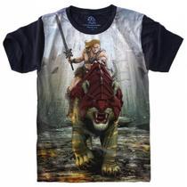 Camiseta He-Man e Gato Guerreiro - Camisetas 4Fun