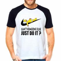 Camiseta Homer Simpsom Just Do It Raglan Manga Curta - Eanime