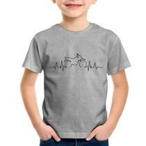 Camiseta Infantil Batimentos Cardíacos Moto Trail - Cinza - Foca na Moda -