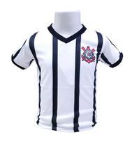 Camiseta Infantil Corinthians Branca Listras Oficial - Revedor