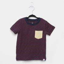 Camiseta Infantil GAP Listrada Bolso Manga Curta Masculina -