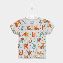 Camiseta Infantil Kamylus Meia Malha Alfabeto -