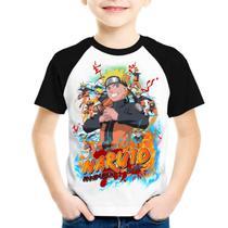 Camiseta infantil Naruto - Mangas preta - Visuarte