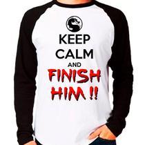 Camiseta Keep Calm And Finish Him Mortal Kombat Raglan Longa - EANIME