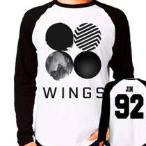 Camiseta Kpop Bangtan Boys Bts Wings Jin 92 Raglan Longa - Eanime